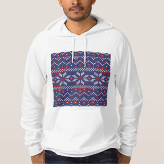 Blue and Red Christmas Abstract Knitted Pattern Hoody