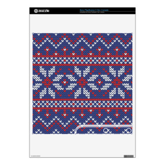 Blue and Red Christmas Abstract Knitted Pattern PS3 Slim Console Decals
