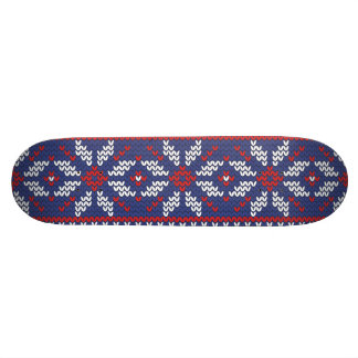 Blue and Red Christmas Abstract Knitted Pattern Skateboard
