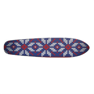 Blue and Red Christmas Abstract Knitted Pattern Skateboard Deck