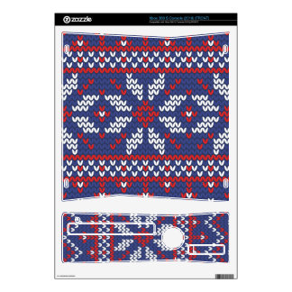 Blue and Red Christmas Abstract Knitted Pattern Skins For Xbox 360 S