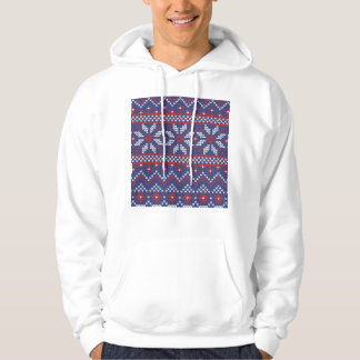 Blue and Red Christmas Abstract Knitted Pattern Sweatshirt