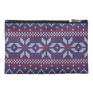 Blue and Red Christmas Abstract Knitted Pattern Travel Accessory Bags