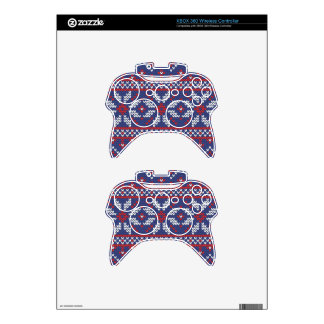 Blue and Red Christmas Abstract Knitted Pattern Xbox 360 Controller Decal