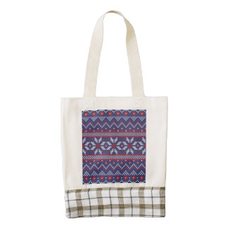 Blue and Red Christmas Abstract Knitted Pattern Zazzle HEART Tote Bag