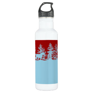 Blue and Red Christmas Horse Sleigh Water Bottle