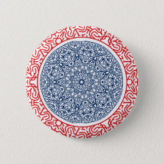 Blue and red circular pattern button