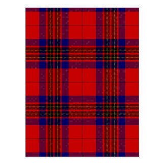 Blue and Red Clan Leslie Tartan Postcard