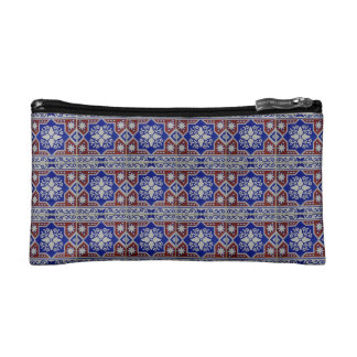 Blue And Red Cultural Design Small Cosmetic Bag