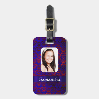 Blue and red damask photo template luggage tag
