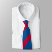 Blue and Red Diagonally-Striped Tie