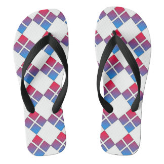 Blue and Red Diamond Flip Flops