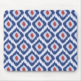 Blue And Red Diamond Ikat Pattern Mouse Pad
