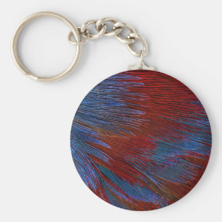 Blue And Red Feather Abstract Keychain