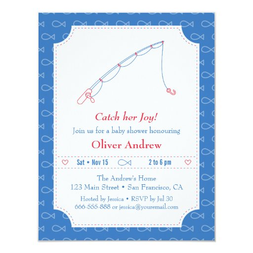 Blue and red fishing baby shower invitations zazzle for Fishing baby shower invitations