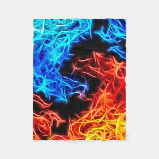 Blue and Red flames energetic pattern fleece throw