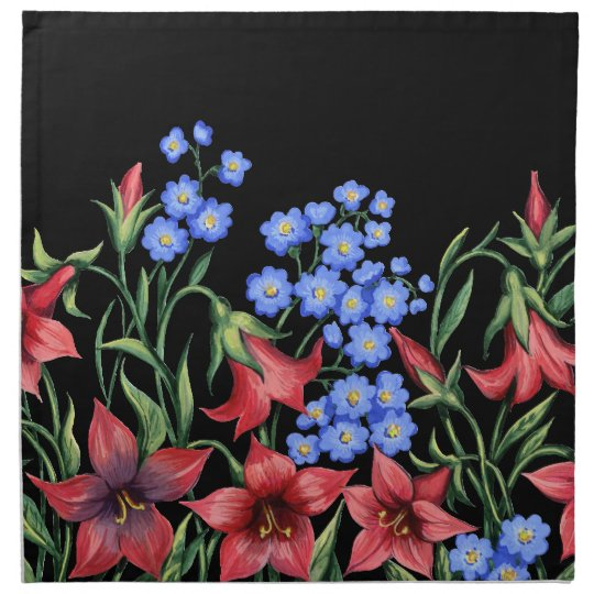 Blue and Red Floral Cloth Napkin