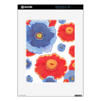 Blue and Red_Floral Wallpaper iPad Decal
