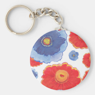 Blue and Red_Floral Wallpaper Keychain