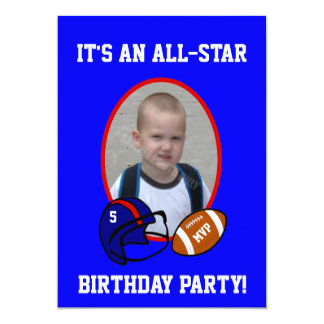 Blue and Red Football and Football Helmet Birthday Card