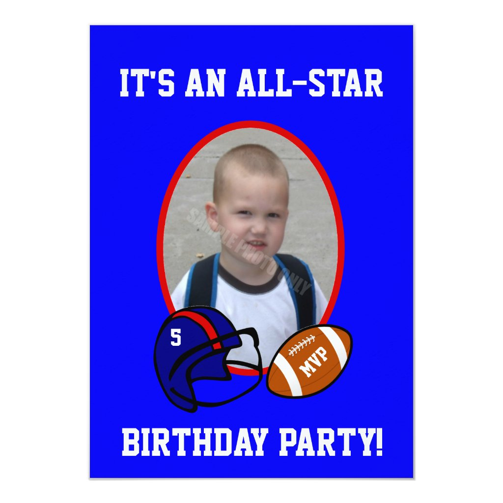 Blue and Red Football and Football Helmet Birthday