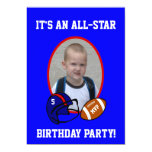 Blue and Red Football and Football Helmet Birthday Announcements
