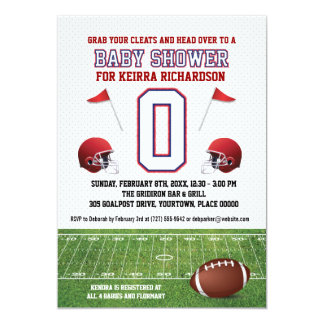 """Blue and Red Football Baby Shower 5"""" X 7"""" Invitation Card"""