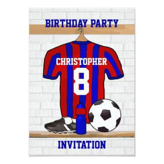 """Blue and Red Football Soccer Jersey Birthday Party 5"""" X 7"""" Invitation Card"""