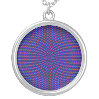 Blue and Red Geometric Circles Necklace