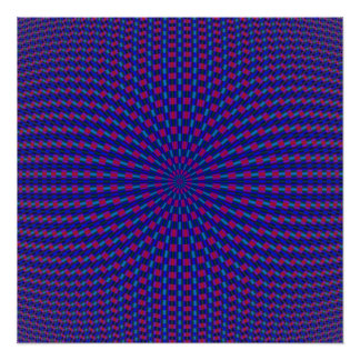 Blue and Red Geometric Circles Perfect Poster
