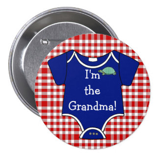 Blue and Red Gingham Turtle I'm The Grandma! Button