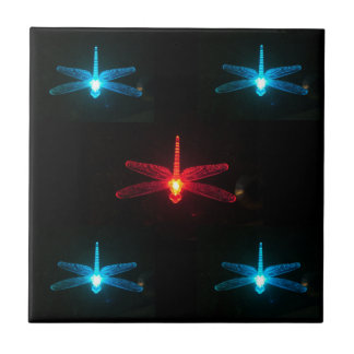 Blue and Red Glowing Dragonflies  tile