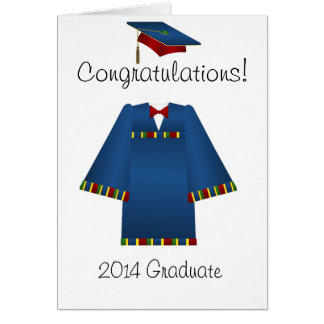 Blue and Red Graduate Cap and Gown Card