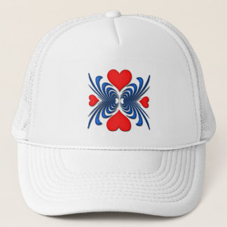 BLUE AND RED HEART ABSTRACT TRUCKER HAT