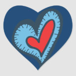 Blue and Red Heart Heart Sticker