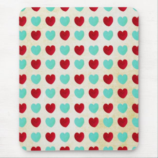 Blue and Red Hearts Mouse Pad