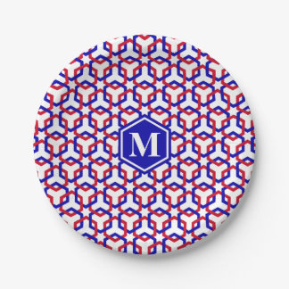 Blue and Red Hexes Paper Plate 7 Inch Paper Plate