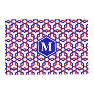 Blue and Red Hexes Placemat