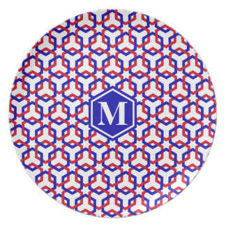 Blue and Red Hexes Plate