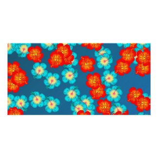 Blue and red hibiscus card