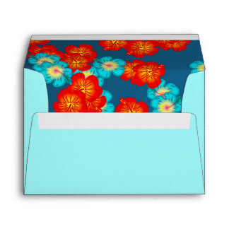 Blue and red hibiscus envelope