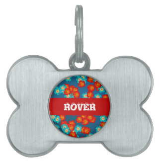 Blue and red hibiscus pet tag