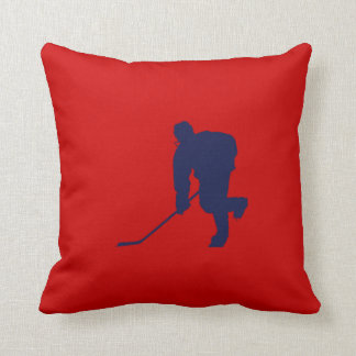 BLUE AND RED HOCKEY THROW PILLOW