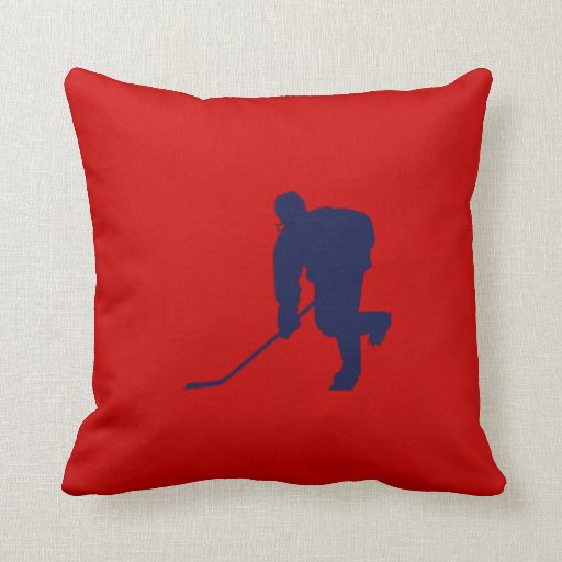 Blue Red Throw Pillow : BLUE AND RED HOCKEY THROW PILLOW Zazzle