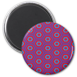Blue and Red Honeycomb Pattern Magnet
