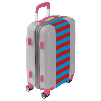 Blue and Red Horizontal Stripes Luggage