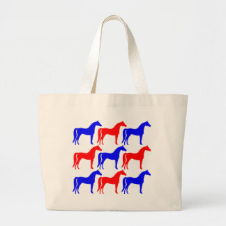 Blue and Red Horses Large Tote Bag