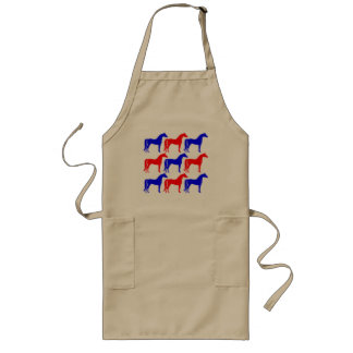 Blue and Red Horses Long Apron