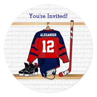 Blue and Red Ice Hockey Jersey Birthday Party Card