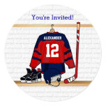 Blue and Red Ice Hockey Jersey Birthday Party Invite